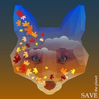 デザインカード、招待状、ポスター、プラカードで使用するためのキツネの頭のシルエットで空の背景に浮かぶ秋のカエデの葉と自然と動物の保護をテーマにしたコンセプトイラスト