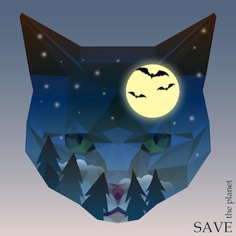 デザインカード、招待状、ポスター、プラカードで使用するための白いカバーで隔離の猫の頭のシルエットで夜の森、コウモリ、月と自然と動物の保護をテーマにしたコンセプトイラスト