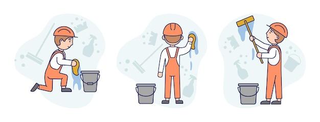 Иллюстрация концепции на белом составе с тремя рабочими-мужчинами в оранжевых защитных касках и спецодежде, мыть стены