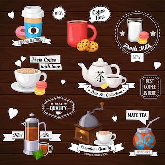 Concept illustration of tea and coffee labels. colorful template for cooking and restaurant menu.
