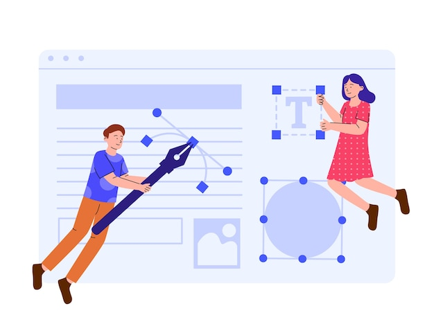 Concept illustration of two young people designing web
