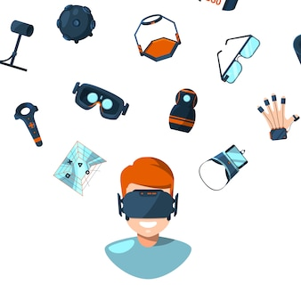 Concept illustration with flat style virtual reality elements flying above man person in vr glasses
