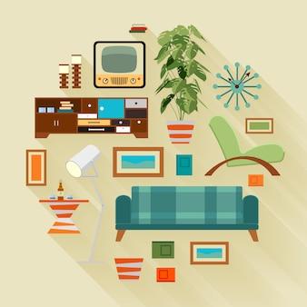 Концепция иллюстрации с вещами в гостиной