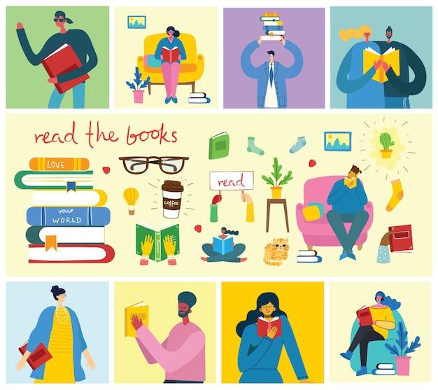 世界の本の日、本を読んで、本祭をフラットスタイルでの概念図。座って、立って、歩いて、フラットスタイルで本を読む人