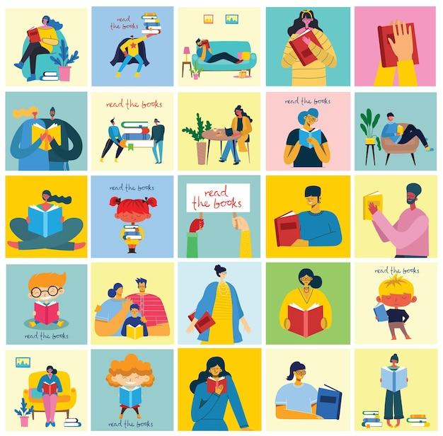세계 책의 날, 책 읽기 및 평면 스타일의 책 축제의 개념 삽화. 사람들은 앉아서 서서 걷고 책을 읽습니다.