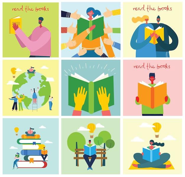 世界図書の日、本を読む、フラットスタイルのブックフェスティバルのコンセプトイラスト。
