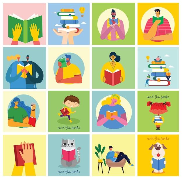 世界図書の日のコンセプトイラスト、本を読んで、ブックフェスティバル
