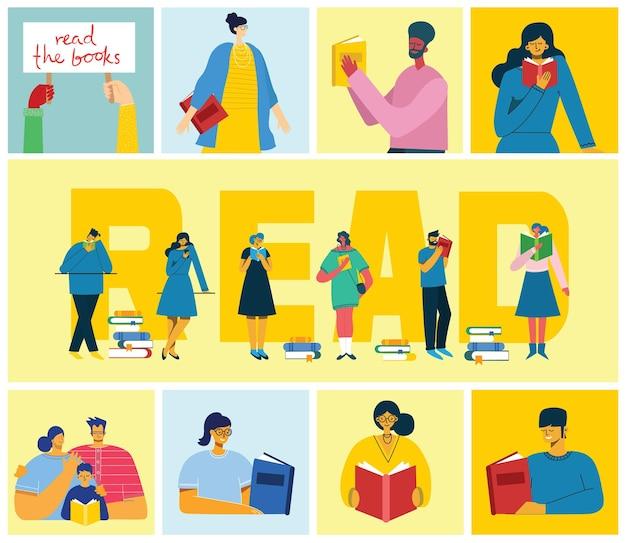 Концепция иллюстрации людей чтение книг в плоском стиле. люди сидят, стоят, ходят и читают книгу