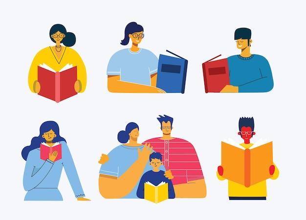 개념 삽화 사람들 플랫 스타일로 책을 읽고.