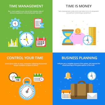 Concept illustrations at time management theme.