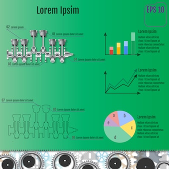 The concept infographic based on the crankshaft.
