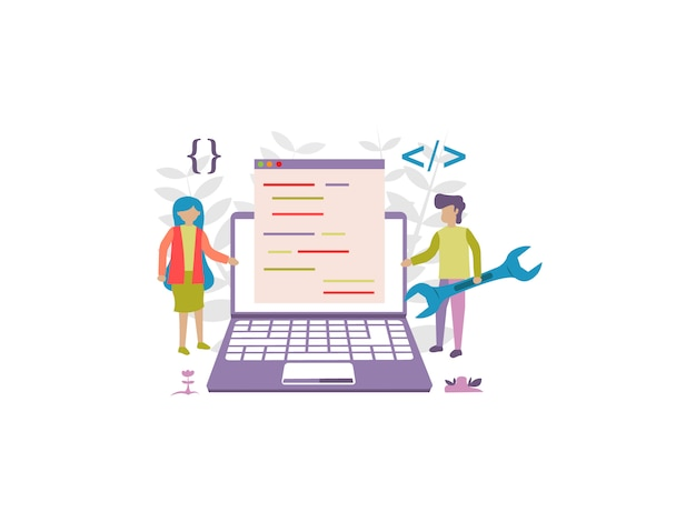 Concept of internet website coding development for web banner