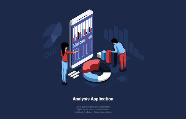 Concept  isometric illustration of analysis application for business or personal use.  cartoon characters working on scheme, graph and chart. big smarthone with different writings, diagrams.