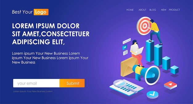 The concept of isometric seo optimization illustration and marketing strategy or business target