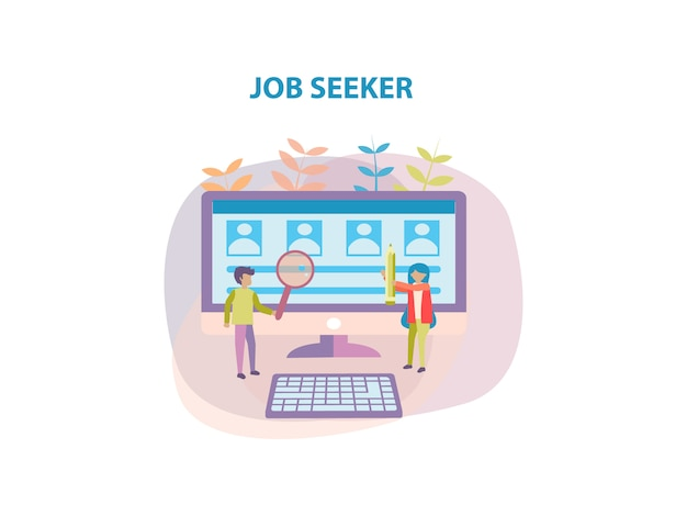 Concept of job seeker background design for web page