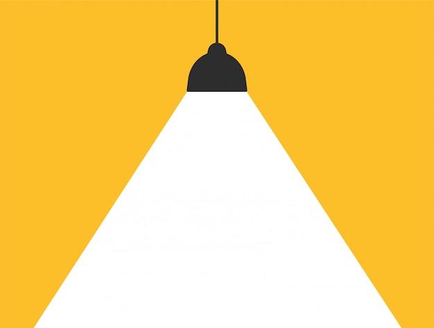 메시지를 추가하기 위해 현대 노란색 배경에 흰색 빛을 방출하는 컨셉 램프.