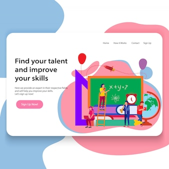 Concept of landing page educational website