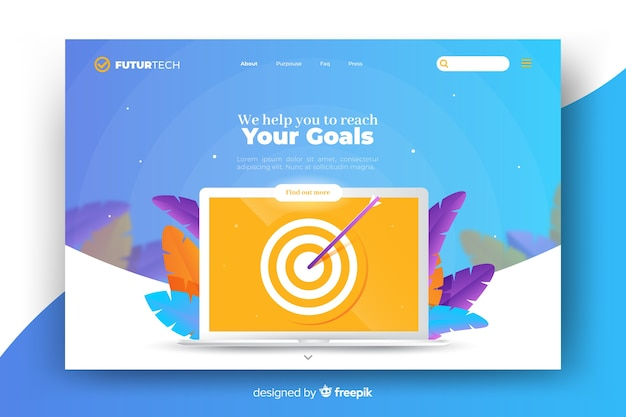 Concept for landing page with laptop template