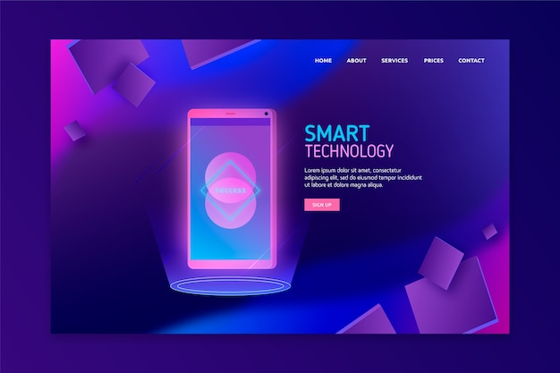 Concept for landing page with smartphone