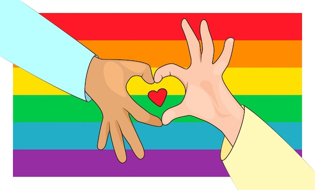 Concept of lgbt pride love sign shapes heart from hands