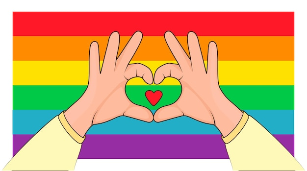 Concept of lgbt pride love sign shapes heart with both hands