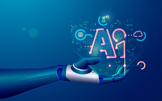 Concept of machine learning or artificial intelligence technology, graphic of robot hand with symbol ai and futuristic element