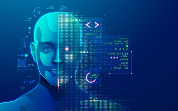 Concept of machine learning or innovation technology, graphic of ai head with programming script