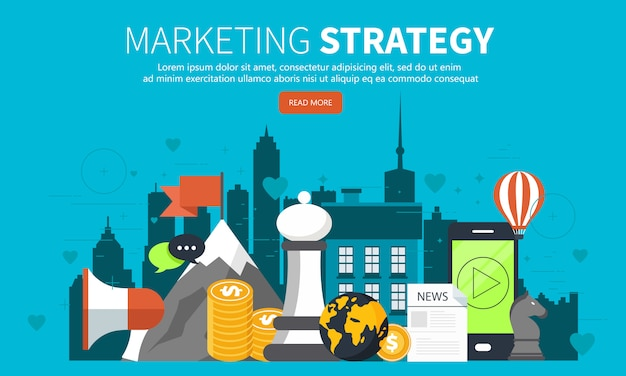 Concept of marketing strategy for website and mobile