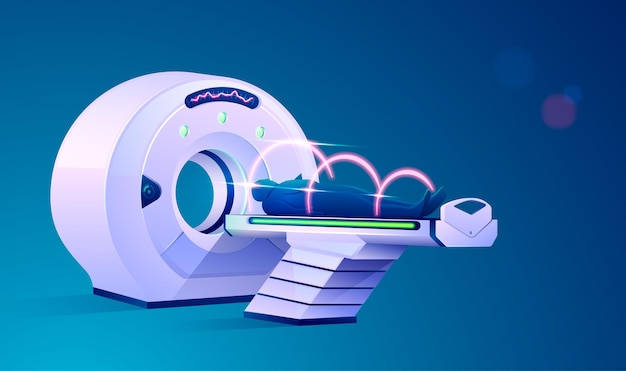 Concept of medical technology advancement, graphic of mri scan device with futuristic element