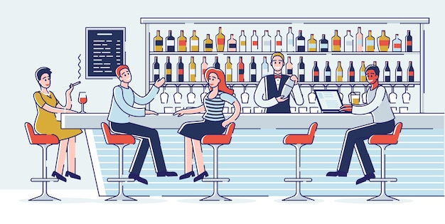 Concept of meetings in a bar. people have a good time communicating at a bar counter.