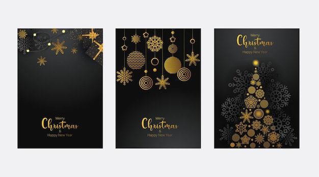 Concept of merry christmas and happy new year posters set