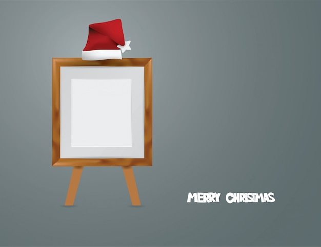 Concept merry christmas with wooden frame