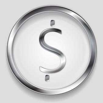 円の概念の金属ドル記号のロゴ。ベクトルの背景