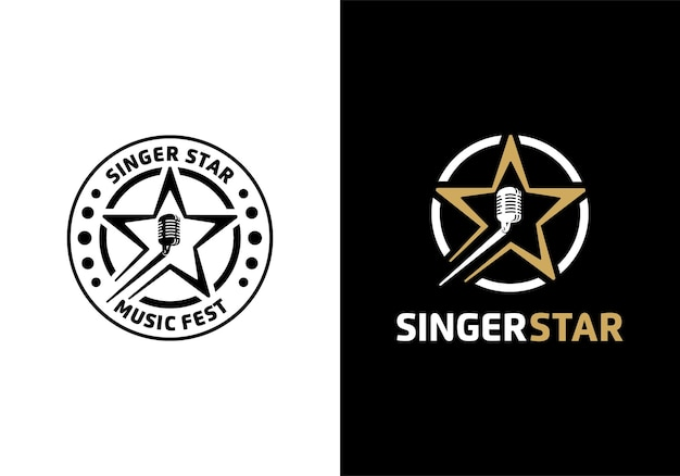 Concept of microphone with star. singing audition, singer star logo illustration design template