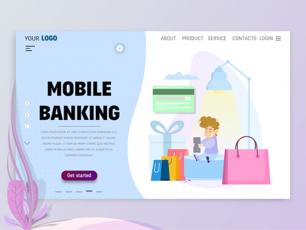 The concept of mobile banking, homepage template for website or landing page.