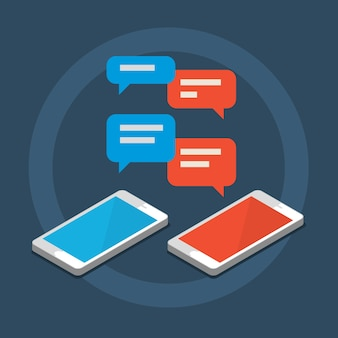 Concept of a mobile chat, social network concept. flat design illustration.