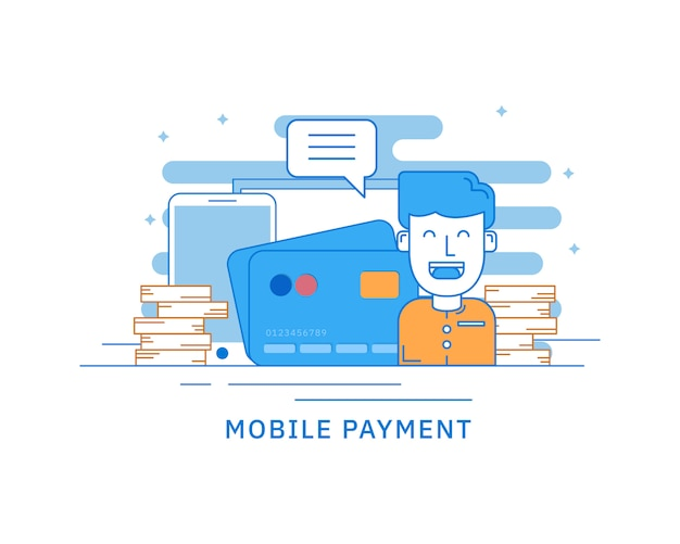 Concept of mobile payment for web page concept