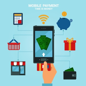 Concept of mobile payments or mobile banking. electronic money methods