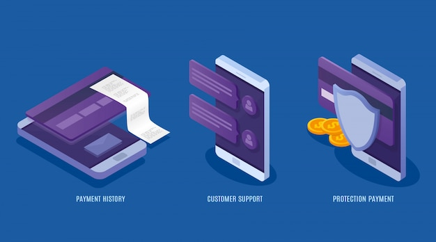 Концепция мобильных платежных услуг. данные о финансовой защите, кредитные карты и счета. денежные операции, бизнес, поддержка клиентов. 3d изометрические иллюстрация.
