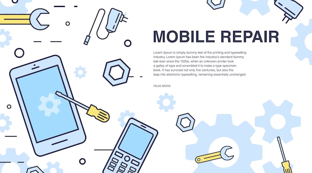 Concept of mobile phone repair. horizontal banner with smartphone and tools.