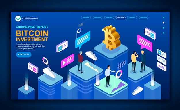 Concept modern business isometric site dedicated to bitcoin, isometric vector concept banner, marketing and finance vector isometric concept. vector illustration