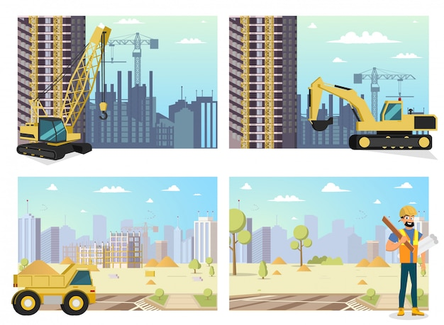 Concept modern city construction buildings.