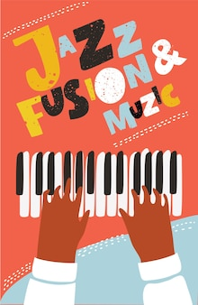 Concept modern music poster for summer piano concert party jazz session Premium Vector