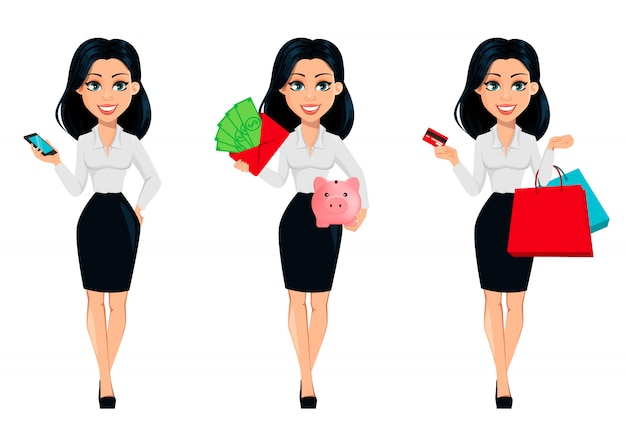 Concept of modern young business woman, set
