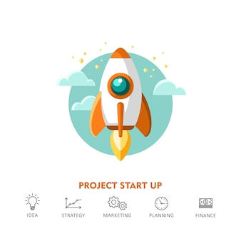 Concept for new business project start up, launching new product or service.  illustration.