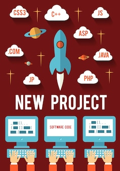 Concept of new business project startup development for web and mobile