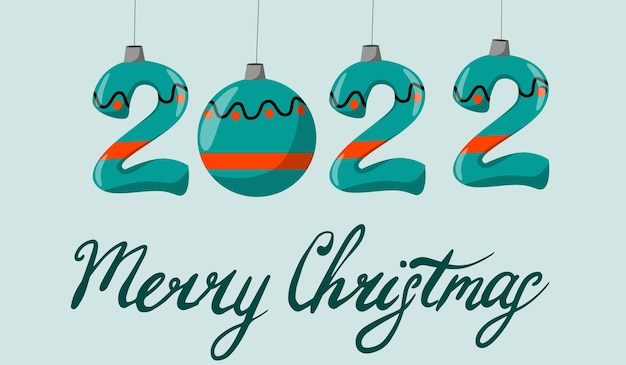 The concept of the new year  2022 the inscription merry christmas