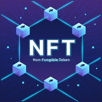 Concept of nft ,non-fungible token with network vector on dark background