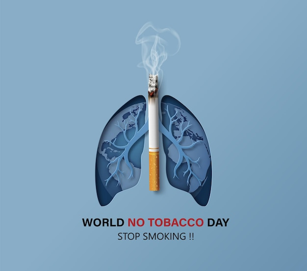 Concept of no smoking and world no tobacco day card with lung and cigarette in paper collage style with digital craft