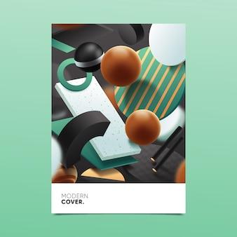 Концепция 3d геометрической формы обложки для шаблона